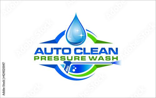 Obraz Illustration vector graphic of pressure power wash spray logo design template - fototapety do salonu