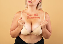 You Are Beautiful Motivational Inscription On Chest Of Curvy Woman In Underwear