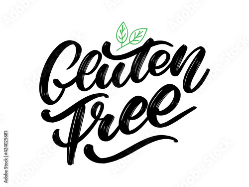 Gluten free label. Hand drawn brush lettering. Logo, badge template for healthy food stores and markets.