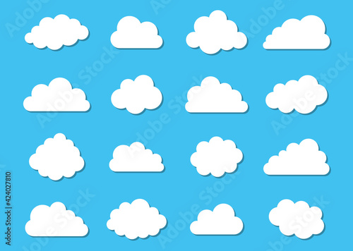 Fototapeta White vector cloud icons collection on blue obraz