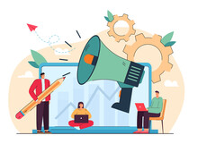 Business Speaker With Loudspeaker And Media Marketing Promotion. Cartoon Vector Illustration. Tiny Managers With Giant Laptop And Megaphone Making Business. Advertisement, Marketing, Promotion Concept