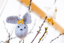Leipzig, Saxony, Germany, 03-23-03 Self-made Easter Decorations -knitted Easter Bunny- On A Cherry Branch