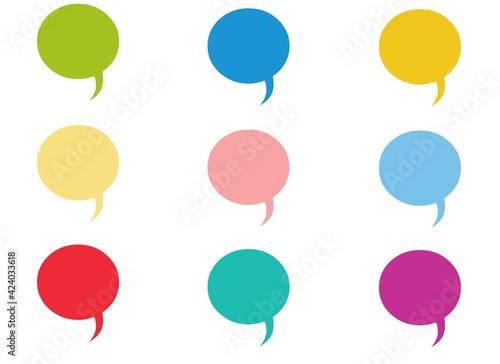 Fotografia, Obraz Set of speak bubble text, chatting box, message box outline cartoon illustration design