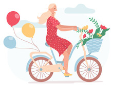 Funny Smiling Girl Dressed In Red Dress Riding Bicycle With Balloons And With Wicker Basket Full Of Spring Flowers. Cute Happy Young Woman On Bike. Flat Vector Illustration On A White Background.
