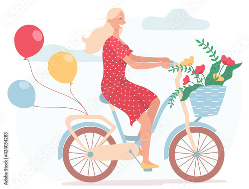 Fototapeta Funny smiling girl dressed in red dress riding bicycle with balloons and with wicker basket full of spring flowers. Cute happy young woman on bike. Flat vector illustration on a white background. obraz