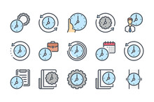 Time Management And Measurement Color Line Icon Set. Work Time And Clock Manage Linear Icons. Watch And Time Period Colorful Outline Vector Sign Collection.