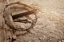 Crucifixion Of Jesus Christ. Cross With Three Nails And Crown Of Thorns On Ground.