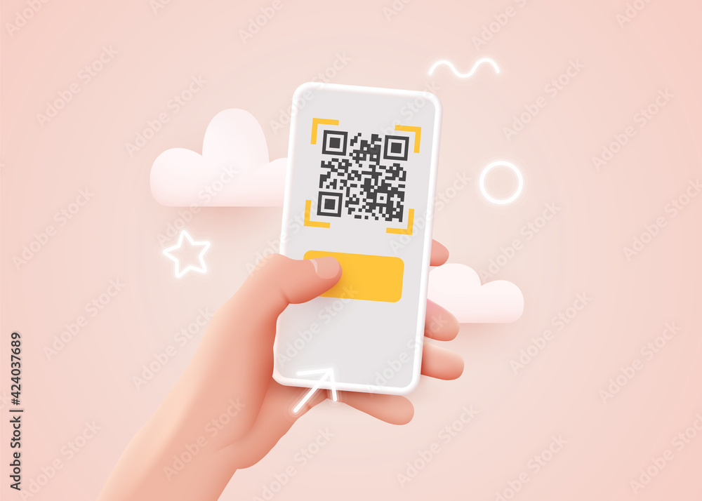 Fototapeta Scanning QR code with mobile smart phone. Qr code payment, E wallet , cashless technology concept.