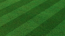 Green Grass Texture Background. A Perfectly Manicured Sports Field / Pitch / Garden Lawn Wallpaper With Stripes.