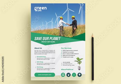 Obraz Green Energy Flyer Layout - fototapety do salonu