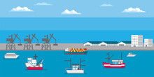 Marine Port. Shipping Transportation And Ocean Logistic. Pixel Art. Old School Computer Graphic. 8 Bit Video Game. Game Assets 8-bit.