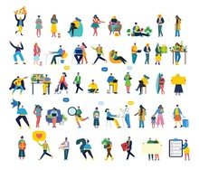 Set Of People, Men And Women With Different Signs. Vector Graphic Objects For Collages And Illustrations.