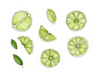 canvas print picture - Limetten als Scheiben und Stücke mit Blättern