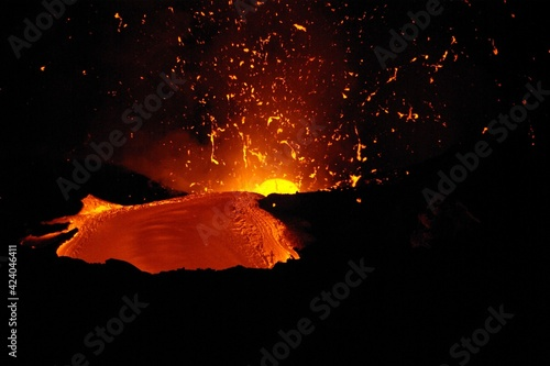 Coulées de lave du volcan Kilauea à Hawaii