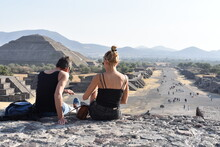 Foreign Couple Enjoying The Archaeological Zone Of Teotihuacan