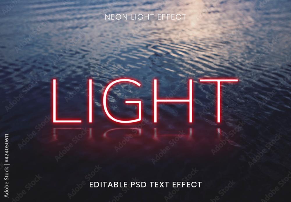 Fototapeta Light Red Neon Word Text Effect