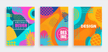 Abstract Summer Cards,banners,flyers With Spotty Pattern Of Geometric Figures,line,wave,dot In Trendy Memphis Style.Fluid Shapes In Summertime Backgrounds.Template For Design,sales,social Media,web.