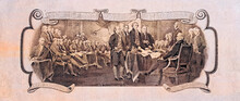 Trumbull's Declaration Of Independence Cut Out  From 2 US Dollar Banknote