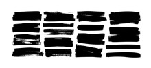 Set Of Grunge Rectangles And Stripes Template Backgrounds. Vector Black Painted Rectangular Shapes. Hand Drawn Brush Strokes Isolated On White. Dirty Grunge Design Frames, Borders Or Template For Text