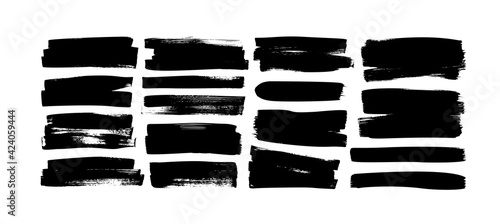 Fototapeta Set of grunge rectangles and stripes template backgrounds. Vector black painted rectangular shapes. Hand drawn brush strokes isolated on white. Dirty grunge design frames, borders or template for text obraz