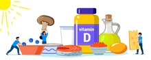 Vitamin D Vector Illustration Healthy Eating And Diet Different Food Rich Of Vitamin D Organic Liver Oil Supplement And Skin Synthesis Dietetic Organic Nutrition Food Supplement And Health Care Concep
