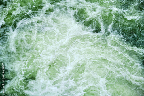 Whirlpools Waves of water of the waves from a waterfall Fototapeta