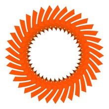 Orange Circular Pattern. Striped Decor. 3d Rendering Illustration.