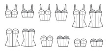 Set Of Denim Corset Tops Bustier Technical Fashion Illustration With Basque, Thin Straps, Strapless, Zip-up Closure, Fitted Body. Flat Apparel Template Front, Back, White Color. Women, Men CAD Mockup