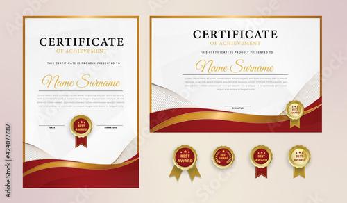 Certificate diploma template blank diploma elegant modern design 2021 creative achievement award gratitude attestation.