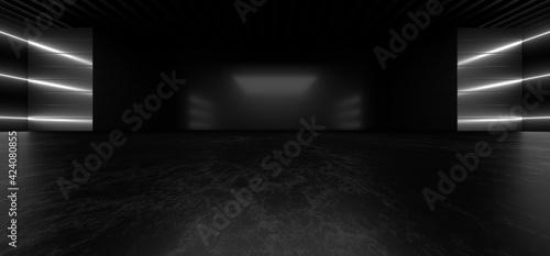 Obraz na plátně A dark corridor lit by white neon lights