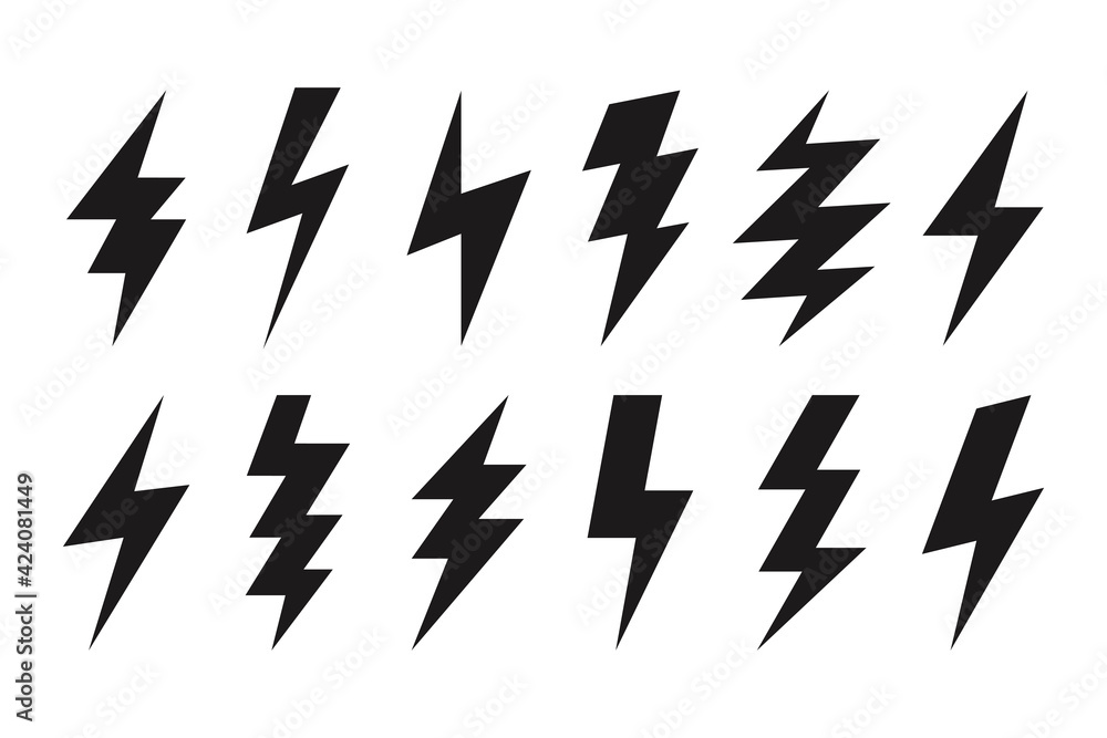 Fototapeta Thunder lightning web icons. Isolated bolt shapes in black color. Danger symbols, rainstorm. Set of volt vector signs