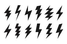 Thunder Lightning Web Icons. Isolated Bolt Shapes In Black Color. Danger Symbols, Rainstorm. Set Of Volt Vector Signs