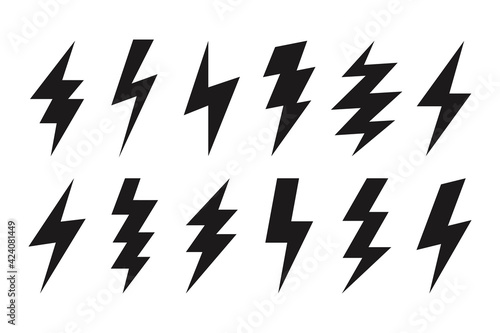 Fototapeta Thunder lightning web icons. Isolated bolt shapes in black color. Danger symbols, rainstorm. Set of volt vector signs obraz