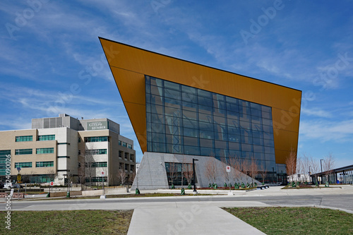 Fototapeta premium Toronto, Canada - March 30, 2021: The campus of Humber College in Toronto has some buildings with strickingly modern architecture.