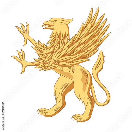 The heraldic golden griffin stands on its hind legs Fototapet
