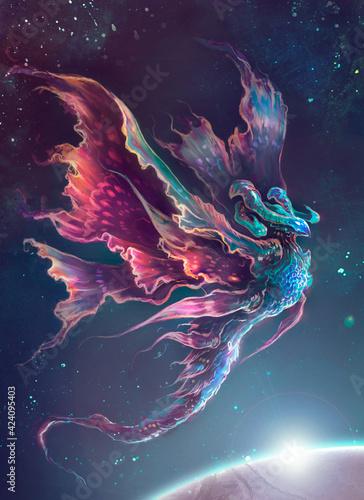 créature interstellaire ailée luminescente Wallpaper Mural