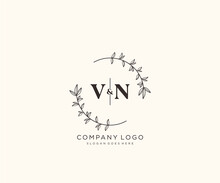 Initial VN Letters Beautiful Floral Feminine Editable Premade Monoline Logo Suitable For Spa Salon Skin Hair Beauty Boutique And Cosmetic Company.