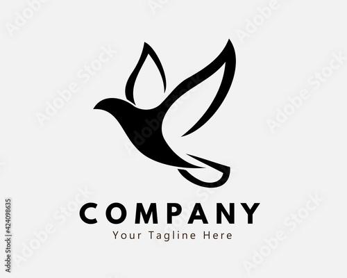 Stampa su Tela Simple dove bird fly illustration logo symbol icon design inspiration