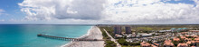 Aerial Panorama Juno Beach Fishing Pier Florida Coastline Stitched Photo