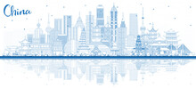 Outline China City Skyline With Blue Buildings And Reflections.