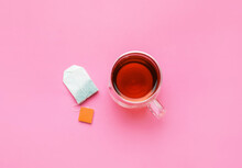 Cup Of Tea On Color Background