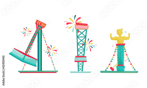 Fotografija Amusement Park with Ride Attractions for Entertainment Vector Set