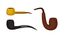 Smoking Pipes Made Of Wood And Metal Vector Set
