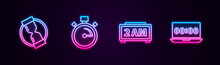 Set Line Old Hourglass, Stopwatch, Digital Alarm Clock And Clock On Laptop. Glowing Neon Icon. Vector