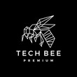 tech bee geometric polygonal logo vector icon illustration