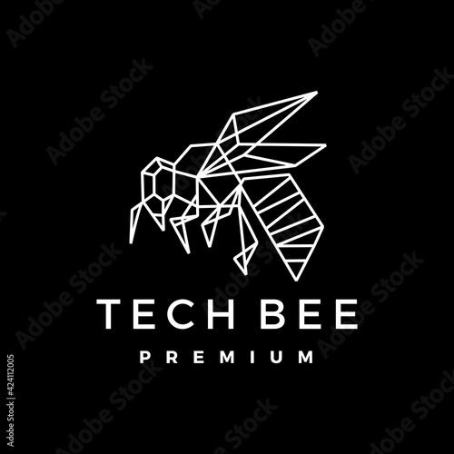 Fototapeta tech bee geometric polygonal logo vector icon illustration obraz