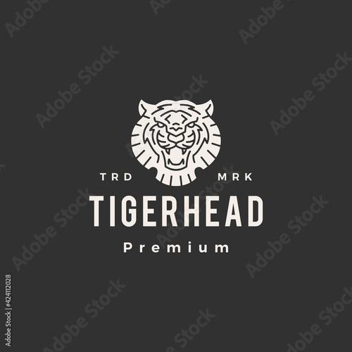 Papel de parede tiger head hipster vintage logo vector icon illustration