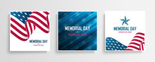 USA Memorial Day Celebrate Cards Set With National Flag Of The United States. Remember And Honor. United States National Holiday Vector Illustration.