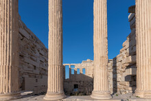 Columns Of Erechtheion Temple On The Acropolis Near Parthenon, Athens, Greece.