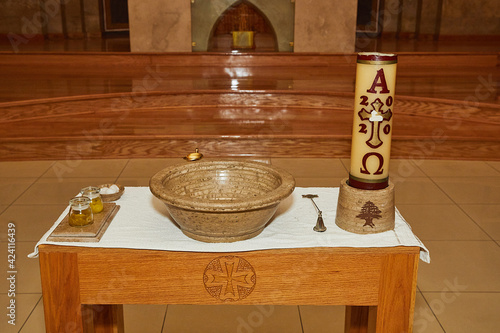 Foto Church altar ready for the sacrament of christening